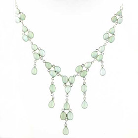 Aqua Chalcedony Droplet Necklace Lettie