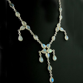 Rainbow Moonstone Droplet Necklace Erin