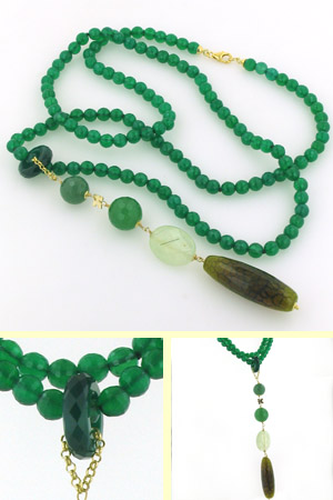 Green Agate, Aventurine and Prehenite Necklace Dora