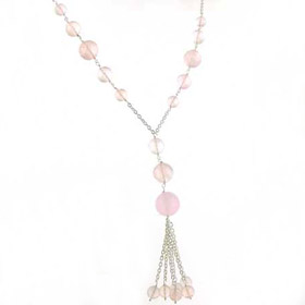 Rose Quartz Bead Necklace Belle