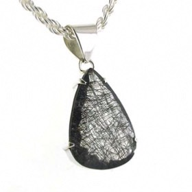 Large Faceted Black Rutilated Quartz Pendant Jocelyn