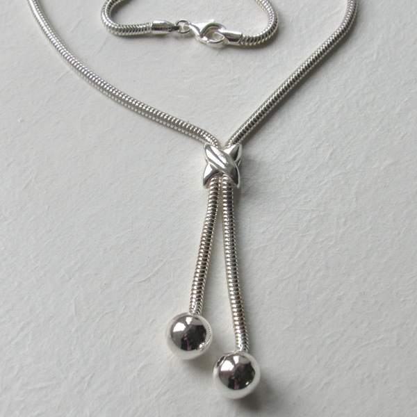 Sterling Silver Snake Chain Necklace With Ball Ends