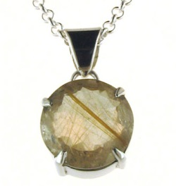 Golden Rutilated Quartz Pendant - Silver Chain