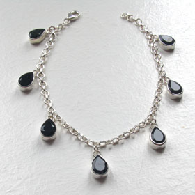 Black Onyx and Sterling Silver Charm Bracelet Lolita