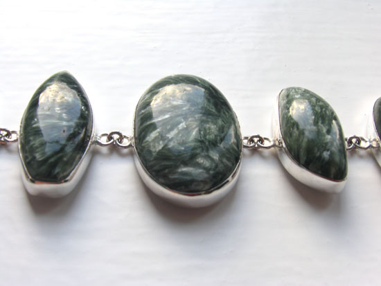 Seraphinite and Sterling Silver Bracelet Lemonie