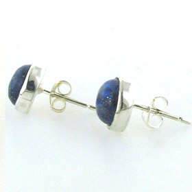 Round Lapis Lazuli Stud Earrings Carly