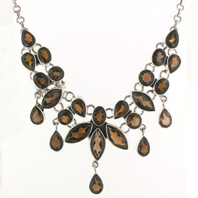 Smokey Quartz Droplet Necklace Shirley