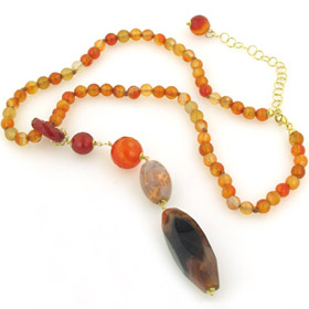 Carnelian and Agate Necklace Lara
