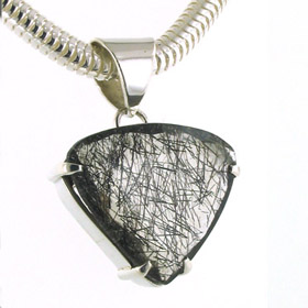 Large Faceted Black Rutilated Quartz Pendant Rosemary