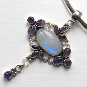 Rainbow Moonstone and Amethyst Pendant Erin
