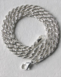 sterling silver rope chain necklaces