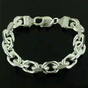 Sterling Silver 10mm Diamond Cut Rolo Bracelet