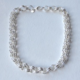 Sterling Silver Double Link Belcher Necklace, Width 10mm