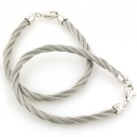 7mm Sterling Silver Twisted Mesh Rope Bracelet