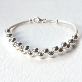 Sterling Silver Ball Bracelet With Twisted Mesh