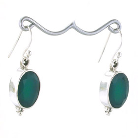 Green Onyx Oval Drop Earrings Rhoda