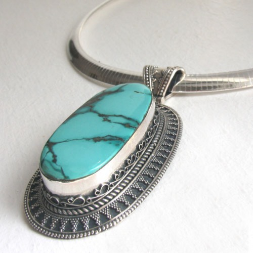 Very Large Turquoise Pendant Esme