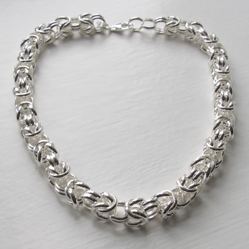 Sterling Silver Byzantine Necklace, Width 10mm