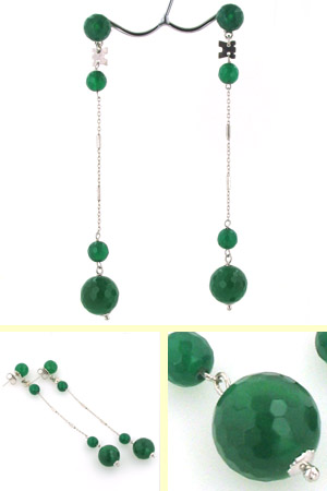 Long Green Agate Earrings Gemma