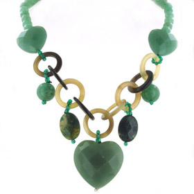 Aventurine, Green Agate and Gold Horn Necklace Katrina