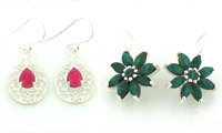 Ruby Emerald & Sapphire Earrings