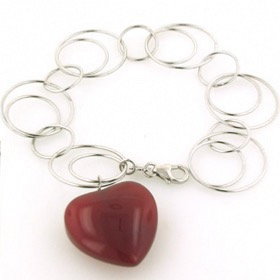 Sterling Silver Link Bracelet with Red Agate Heart