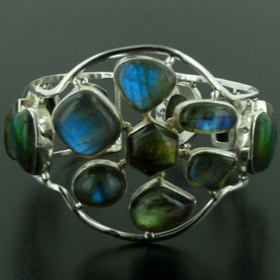 Labradorite and Sterling Silver Cuff Bracelet Magdalena