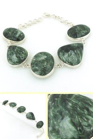 Seraphinite and Sterling Silver Bracelet Bea