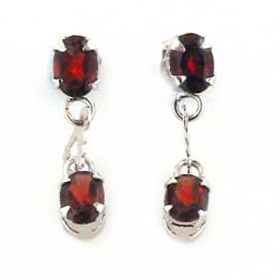 Garnet Stud and Droplet Earrings Violette