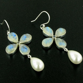 Rainbow Moonstone & White Pearl Earrings Elizabeth