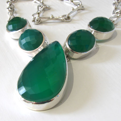 Faceted Green Onyx Necklace Bella