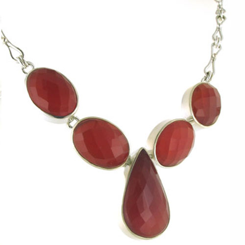 Faceted Red Onyx Necklace Bella