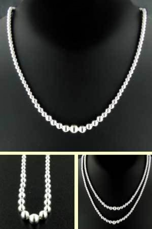 Sterling Silver Graduated Ball Necklace