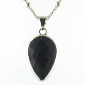 Faceted Black Onyx Pendant Hetty