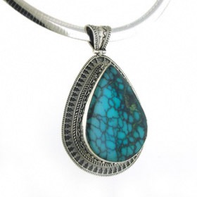 Very Large Turquoise Pendant Corazon