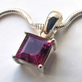 Pink Tourmaline Pendant Clemmie in Sterling Silver