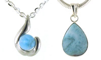 Larimar and Sterling Silver Pendants