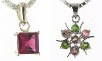 Tourmaline and Sterling Silver Pendants