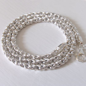 Sterling Silver Torcion Chain, Width 4mm
