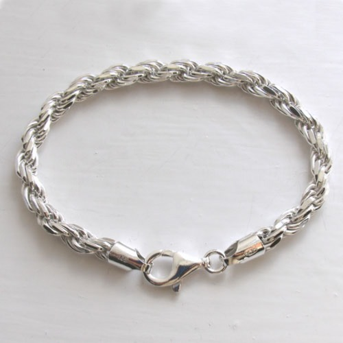 Sterling Silver Diamond Cut Rope Bracelet, Width 6mm