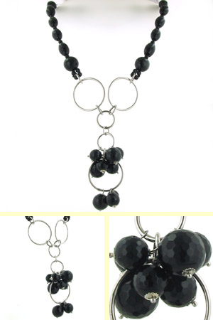 Black Onyx Necklace Antonia in Sterling Silver