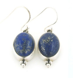 Lapis Lazuli Silver Earrings - Boothandbooth.co.uk