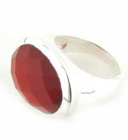Red Onyx Rings - Silver Gemstone Rings