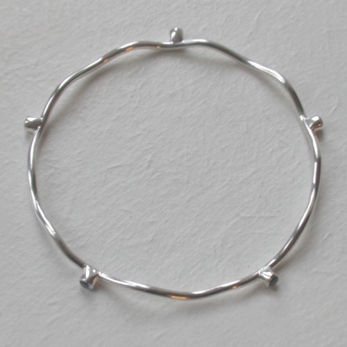 Sterling Silver Wave Bangle Gwendoline With Iolites