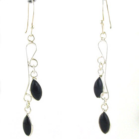 Black Onyx Droplet Earrings Tess