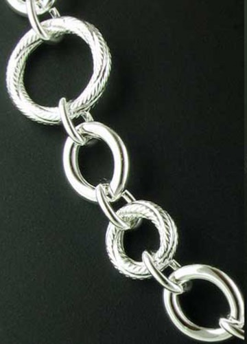 Italian Sterling Silver Chunky Rings Necklace