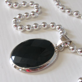 Large Oval Black Onyx Pendant Marni