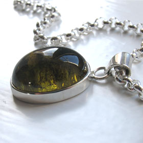 Olive Tourmaline Pendant Lucinda in Sterling Silver