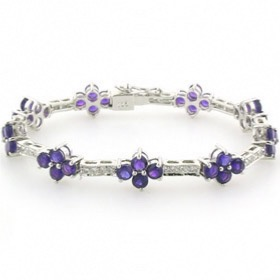 Amethyst Bracelet Georgia set in Sterling Silver