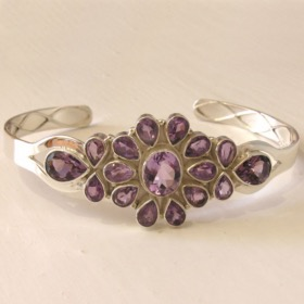 Amethyst Sterling Silver Bangle Carmen